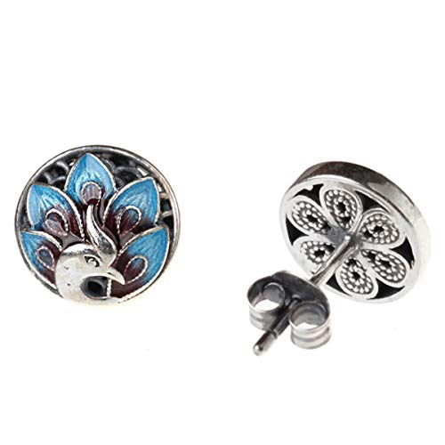 (Libaraba Vintage 925 Silver Cloisonne Peacock Pattern Coin Stud Earrings with Heart Jewelry Box,Peacock Earrings for Women (Antique Silver))