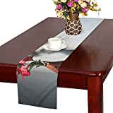 Flower Wooden Vase Shadow Table Table Runner, Kitchen Dining Table Runner 16 X 72 Inch For Dinner Parties, Events, Decor