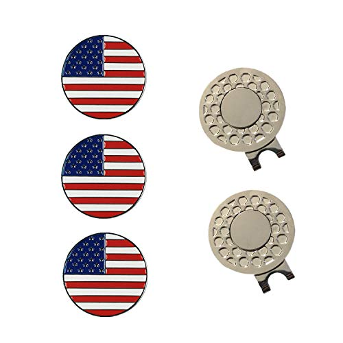 FINGER TEN Golf Ball Markers 3 Pcs with 2 Pack Hat Clip Value Gift Set, Mark Pattern USA, Eagle, Ribbon in Choice for Men Women Kid (All USA ()