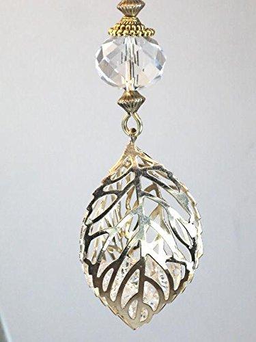 3d Filigree - Glass Diamonds Inside a Golden Openwork 3-D Filigree Leaf Ceiling Fan Pull