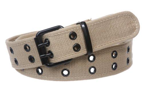 Double Hole Grommets Canvas Web Belt, Khaki | 2xl (42