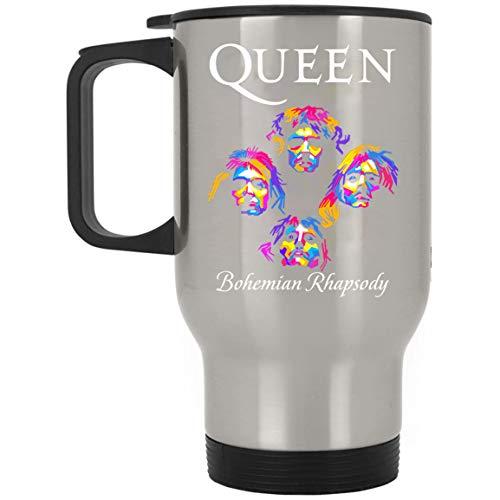 Queen Band Bohemian Rhapsody Freddie Mercury Stainless Steel Travel Mug Unique Gifting ideas for Women Men Friends Coworker (Silver, One Size)