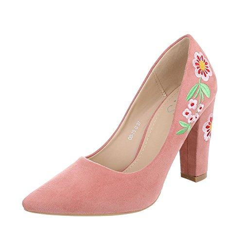 Ital-Design Women's Court Shoes Kitten Heel High Heels Pink 6afTx