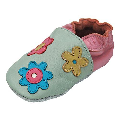 Lappa.de - Zapatillas de piel para niños (suela de ante, tallas de la 19 a la 31), diseño de flores, multicolor