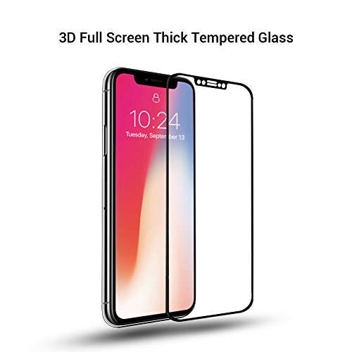 iPhone X 9H Hardness Screen Protector, Huafly Tempered 3D Glass Screen Protector for iPhone X with Anti-fingerprint High Light Penetration Hardness(2 Pack for Front and Back Screen) by Huafly (Image #1)