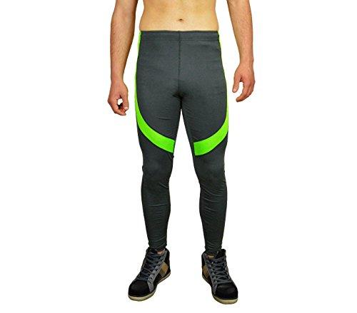 Pantaloni per lo sport da uomo KZ-327 con inserti colorati tessuto traspirante. MEDIA WAVE store ® (M/L, Grigio e Verde)