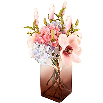 Fresh home , Artificial Flowers with Vase,Fake Hydrangea Mangnolia with Brown Gradients Vase, Faux Flower Arrangements for Home Decor, Brown, Large