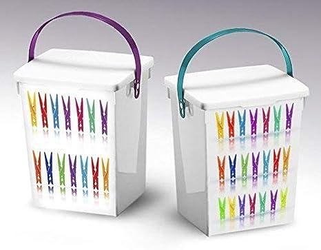 Plástico 5Lt diseño de pinzas de caja de almacenamiento caja de envase con tapa y asa: Amazon.es: Hogar
