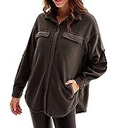 GRACE KARIN Women's Long Sleeve Fleece Jacket Button Down Collar Coat with Slant Pocket Shacket S...