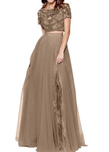Damen Promkleider Abendkleider Romantisch Zwei teilig Kleid Charmant Braun Spitze Abschlussballkleider Lang fxTq7d7