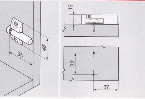 Support pour amortisseur de porte de meuble blumotion 970-en croix a visser Blum R/éf..970.1501