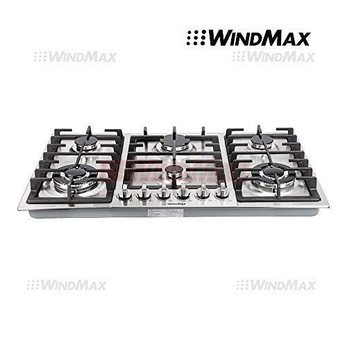 """WindMax Euro Style 34"""" Stainless Steel 6 Burner Built-In Stoves NG Gas Cooktops Cooker"""
