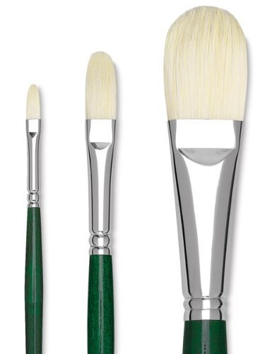 Grumbacher Gainsborough Filbert Oil and Acrylic Brush, Hog Bristle, Size 8