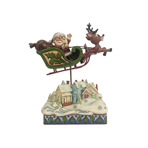 "Enesco Rudolph The Red Nosed Reindeer by Jim Shore Sleigh Over Village Figurine, 7.2"", Multicolor"