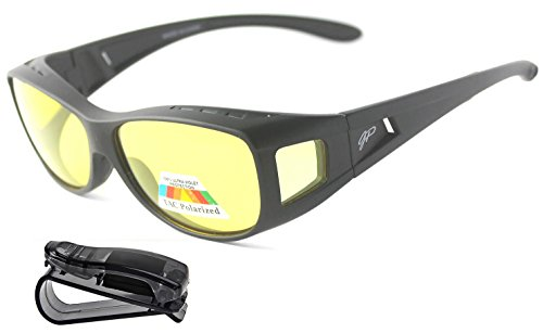 Fit Over Night Vision Driving Glasses Anti Glare polarized +car clip - That Sunglasses Over Glasses Regular Go