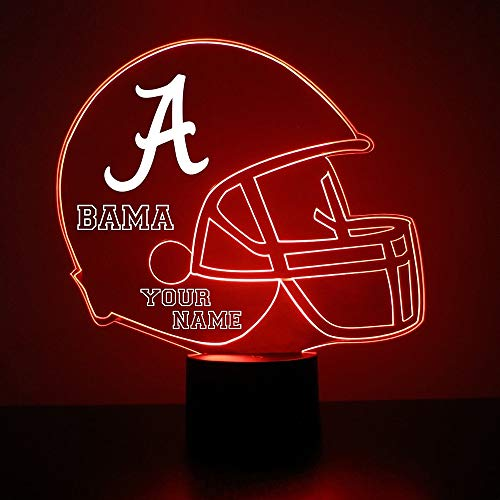Mirror Magic Store Alabama Crimson Tide Football Helmet LED Night Light with Free Personalization - Night Lamp - Table Lamp - Featuring Licensed -