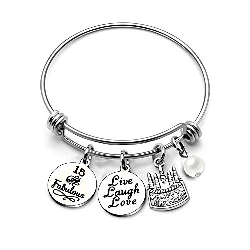 AGR8T Bangle Bracelets Gifts for Her Happy Birthday Bangles Cake Live Laugh Love Charms Women Girl (15th Birthday)