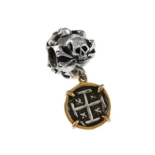 Skull and Bones Sterling Silver Bead with Dangling Replica Atocha Treasure Coin in 14k Gold by Lone Palm Jewelry