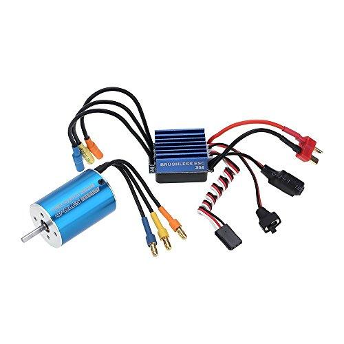 Jrelecs 2838 3600KV 4P Sensorless Brushless Motor & 35A Brushless ESC Electronic Speed Controller for 1/14 1/16 1/18 RC Car (2838 ()