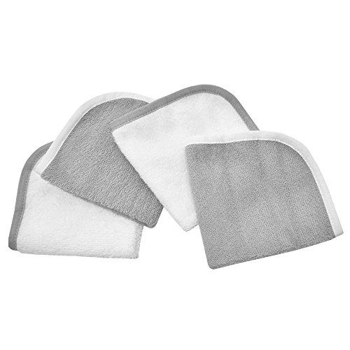 American Baby Company Cotton Terry 4-Piece Washcloth Set, Gray, for Boys and Girls