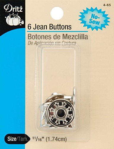 Jean Buttons Replacement 6 Pack Silver No Sew 11/16 (1.74cm) by energi8_fab
