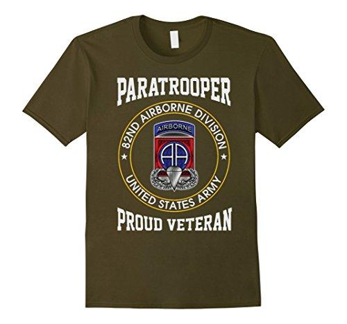 Mens 82nd Airborne Division - Proud Paratrooper Veteran Tshirt 2XL ()