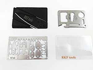 Premium Wallet Survival Card Kit, Credit Card Knife Fresnel Lens 11-in-1 22-in-1, Multi Tools for Hunting Fishing Emergency, Equipment for Pocket Car Bug-Out Bag Lightweight Gear for Outdoor Backpack