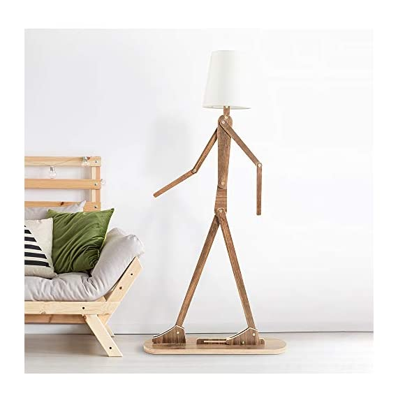 HROOME Modern Contemporary Decorative Wooden Floor Lamp Light with Fold White Fabric Shade Adjustable Height Standing Light for Living Room Bedroom Office 160cm Unique Design DIY Man Lamps (Walnut) - Trust material : The lamp body is made of plywood, firm and chemical-free. Material of the lampsade is fabric cloth, classical and elegant. Easy to use and store:The lamp is adjustable,you can adjust the angle and height as you like. With the special design, it can be stored in a small space. Features:AC 110-220V ,E26 screw socket easy to install,1.6m cord with button switch.Suitable for living room ,bedroom,office and so on . - living-room-decor, living-room, floor-lamps - 41JBC7nwCiL. SS570  -