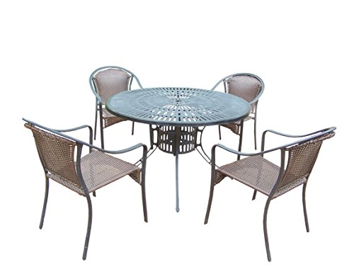 Oakland Living Tuscany 5-Piece Set with 48-Inch Sunray Table and 4 Stackable Resin Wicker Chairs