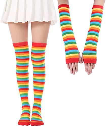 (Over Knee Long Sock Striped Mardi Gras Socks St. Patrick's Day Stockings (Rainbow Gloves Socks Sets))