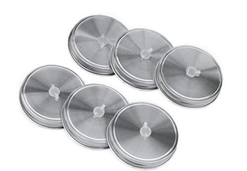 Mason Jar Lids with Straw Hole 18/8 Stainless Steel with Silicone Rings (6 Pack, Wide Mouth) … …