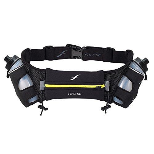 (Fitletic  16 Oz Hydration Belt, Black/Yellow,)