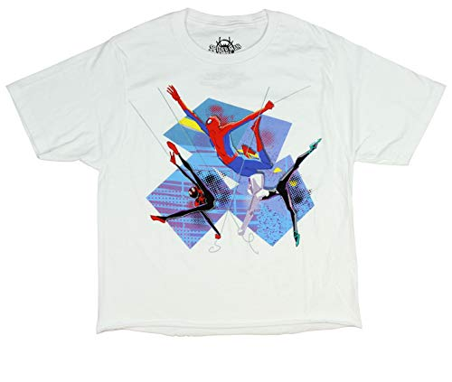 Spider-Man Shirt Into The Spider-Verse Trio Girls Crop Top T-Shirt (Large) White ()