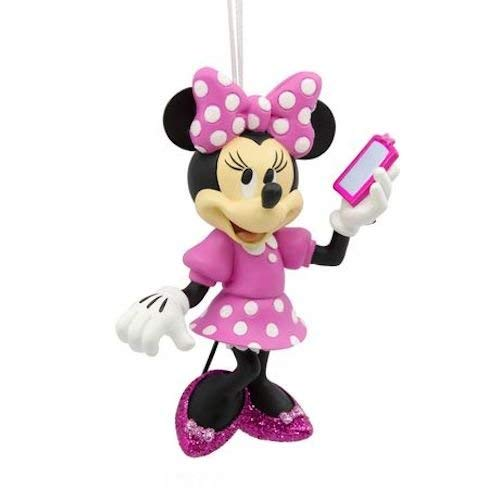 Hallmark Minnie Mouse Pink Polka Dot Holding Cell Phone Red Box Ornament 2017