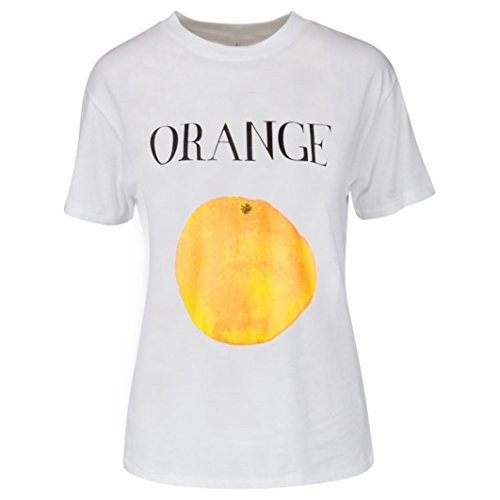 shirt shirt dimensioni t di t stampa t grandi con t shirt donna manica ASHOP frutta da corte di maniche con shirt alfabeto corta shirt a Arancione stampata donna abbigliamento maglietta t gBS0npqp