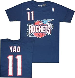 Houston Rockets Yao Ming Throwback Adidas Navy T Shirt