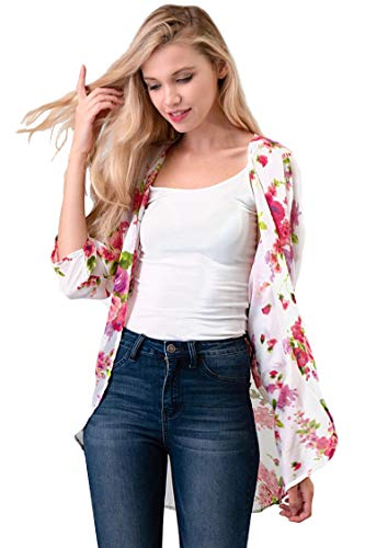 Casual Light Sheer Floral Pattern Kimono Style 3/4 Outerwear Cardigan Floral White M