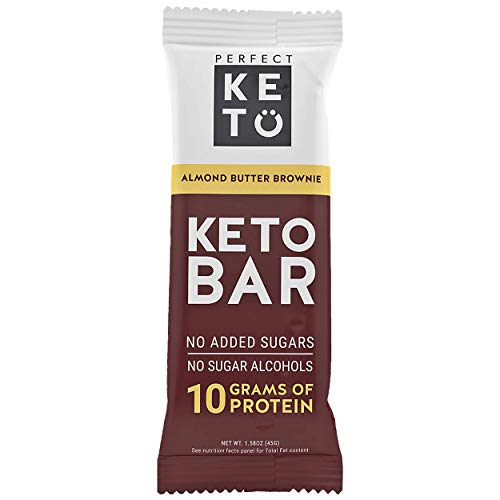 (New! Perfect Keto Bar, Keto Snack (12 Count), No Added Sugar. 10g of Protein, Coconut Oil, and Collagen, with a Touch of Sea Salt and Stevia. (12 Bars, Almond Butter))