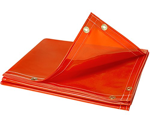 (Steiner 338-6X6 Arcview 14 Mil Flame Retardant Tinted Transparent Vinyl Welding Curtain, Orange, 6' x 6')