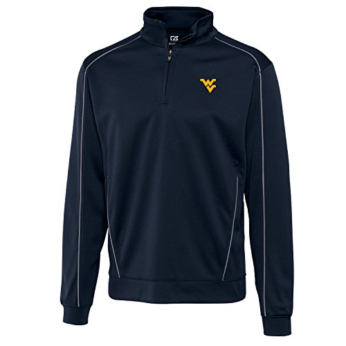 NCAA West Virginia Mountaineers Men's Edge Half Zip Jacket, Navy Blue, (Mountaineer Zip)