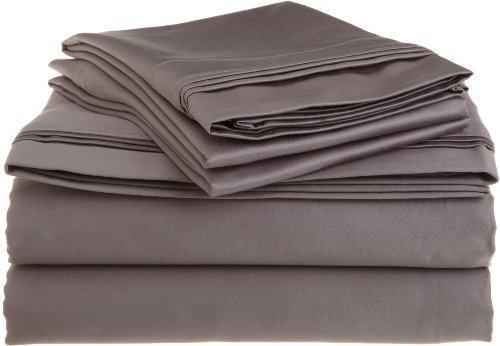 Ras Decor Linen Egyptian Cotton 650-Thread-Count New Bedding 4 PCs Sheet Set Fit Mattress up to 15 Inch Solid Dark Grey Queen Size Comfortable & Soft Hotel Quality !!