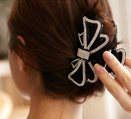 Circles Crystal Clips Beautiful Girls Stones Hairpins Crab Claws Jaw Clamp Hair Jewelry For Women Black Brown 11cm