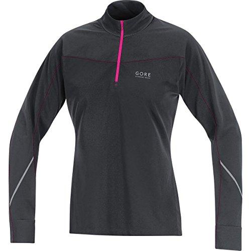 GORE RUNNING WEAR Damen Warmes Thermo-Langarm-Laufshirt, GORE Selected Fabrics, ESSENTIAL LADY Thermo Shirt, Größe 38, Schwarz/Magenta, SESSTT