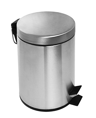 Estilo Round Brushed Stainless Steel Step Trash Can 3L - Fingerprint Resistant (Small Trash Can Bathroom compare prices)