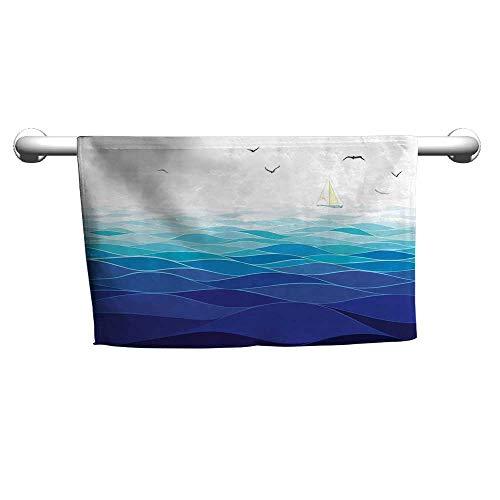 flybeek Valentines Aqua,Graphic Ocean Waves Sailboat with Birds Seagulls Seascape Horizon Maritime,Navy Blue Aqua White,Towel for Hair Drying