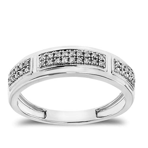 Buy Jewels 925 Sterling Silver Ring with Natural Diamond Band for Women and Men (1/10 cttw, G-H Color) (7)