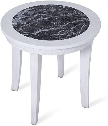 Olee Sleep 22 NATURAL Marble Top From Italy Round Coffee Table Tea Table End Table Side Table Office Table Computer Table Vanity Table Dining Table, Black White