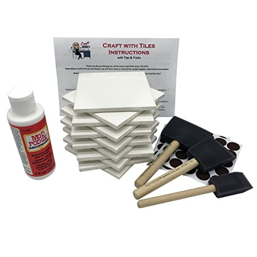Coaster Tile Craft Kit, Premium Bundle Set Includes 12 Ceramic White Tiles 4x4, Mod Podge Gloss Glue Sealer, Foam Sponge Brushes, Felt Adhesive Pads and Detailed Instructions, Make Your Own Coasters!