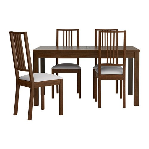 Ikea Table and 4 chairs, brown, Gobo white 42018.29262.3018
