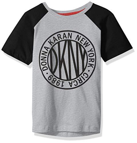 DKNY Boys Short Raglan Sleeve Color Block Token Crew Neck T-Shirt